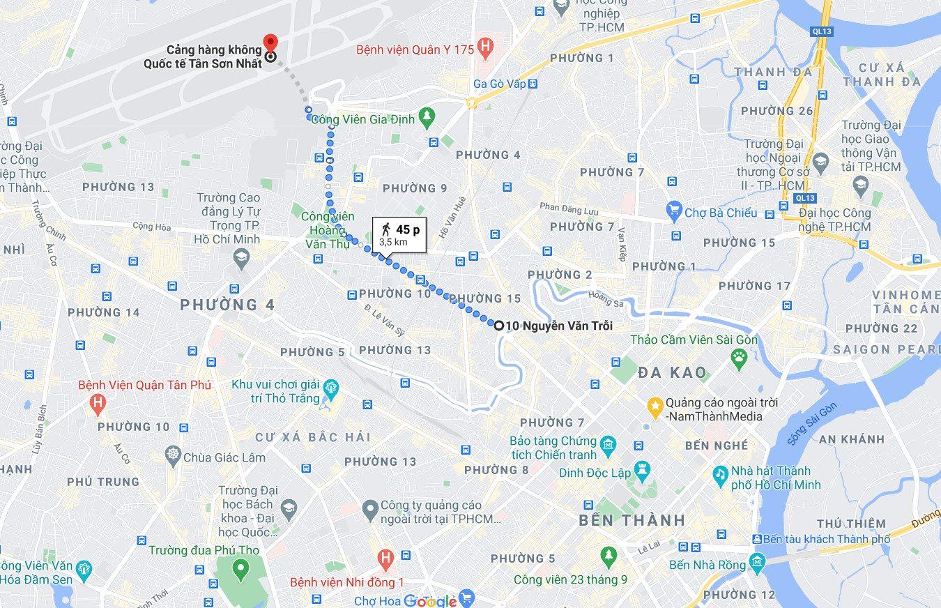 Vị trí Billboard số 10 Nguyễn Văn Trỗi - Hướng ra sân bay Tân Sơn Nhất