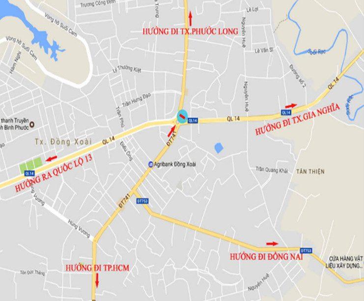 Sơ đồ vị trí Billboard tại 208 Quốc lộ Đồng Xoài - Bình Phước
