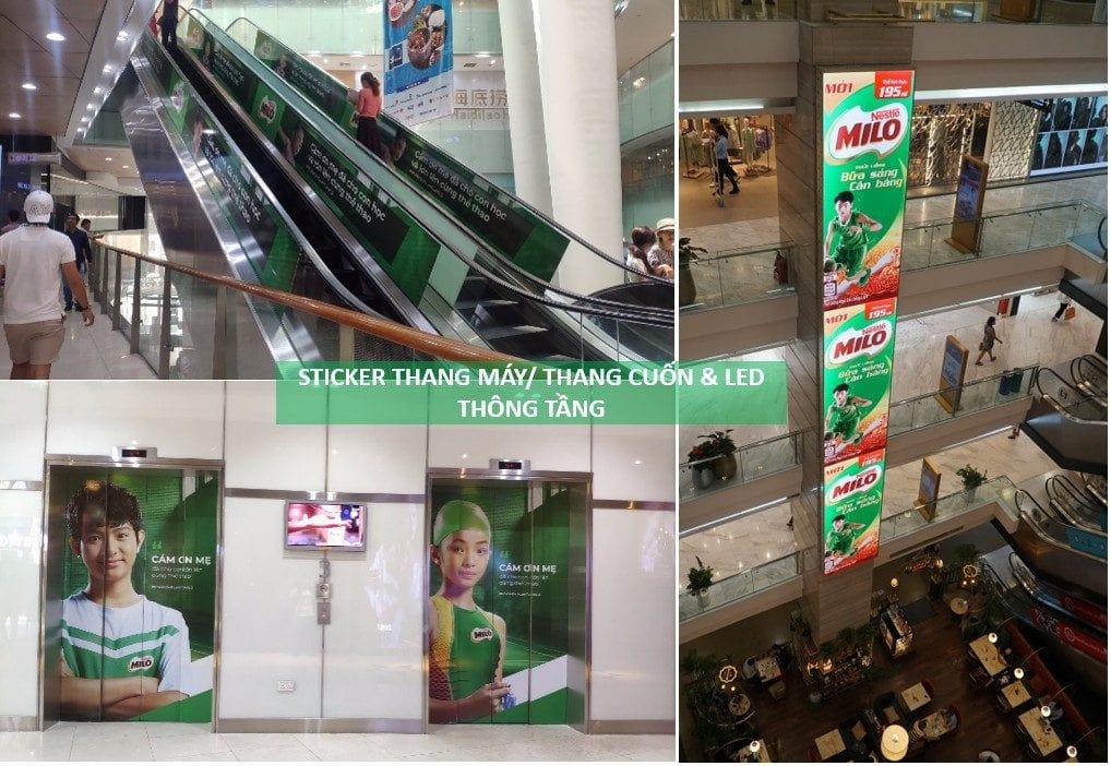 quảng cáo trong trung tâm thương mại