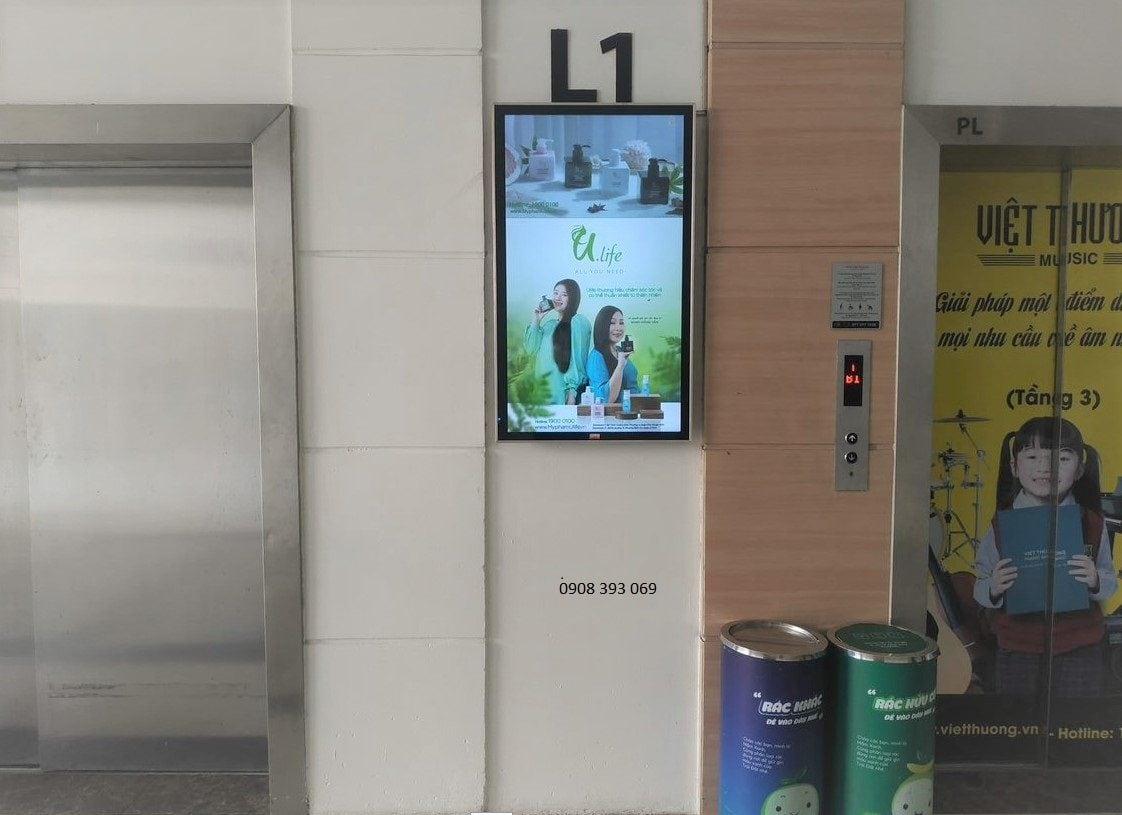 quảng cáo lcd tại thang máy trung tâm thương mại